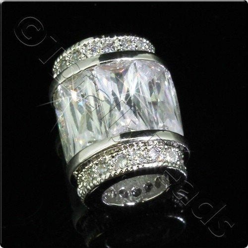 Pave Crystal Bead - Silver Crystal Barrel