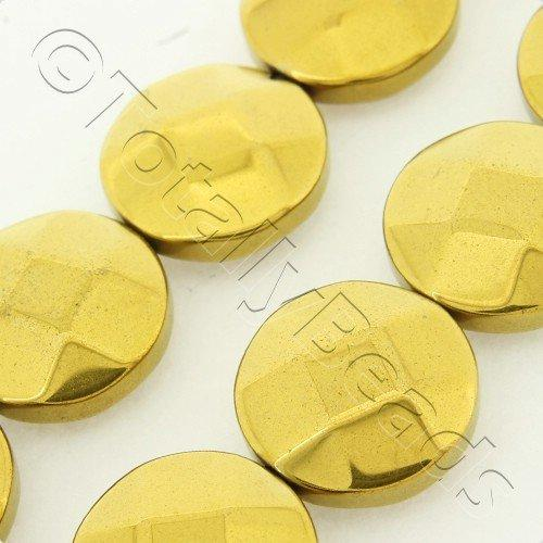 Hematite Facet Disc 12mm - Gold Plated