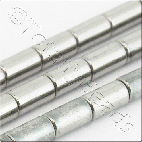 Hematite Tube 3x5mm - Silver Plated