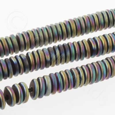 Hematite Rondelle 4mm Heshi - Matt Rainbow Plated