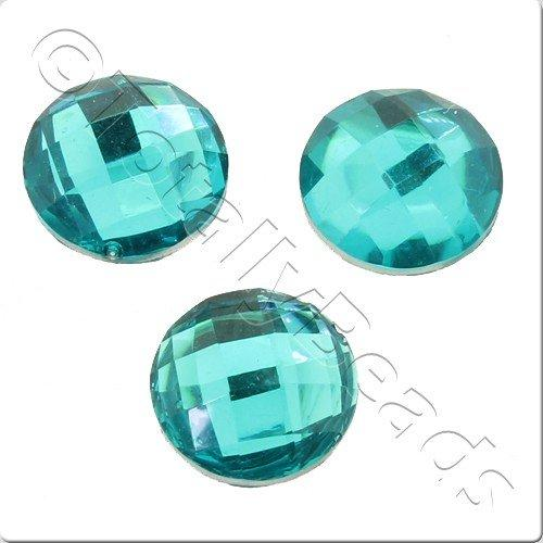 Resin Cabochon 10mm - Facet Aqua 10pcs