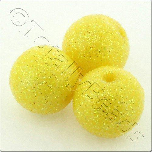 Resin Glitter Round 10mm Bead - Yellow