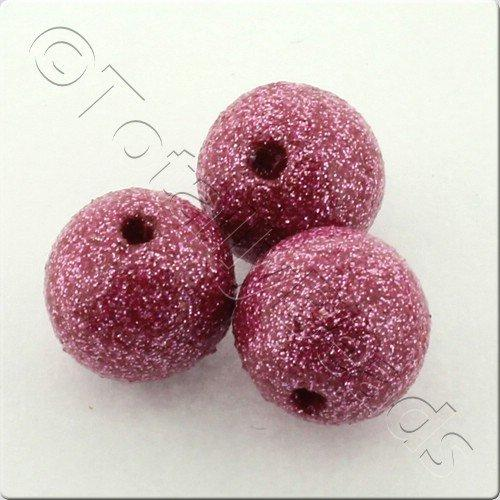 Resin Glitter Round 10mm Bead - Pink