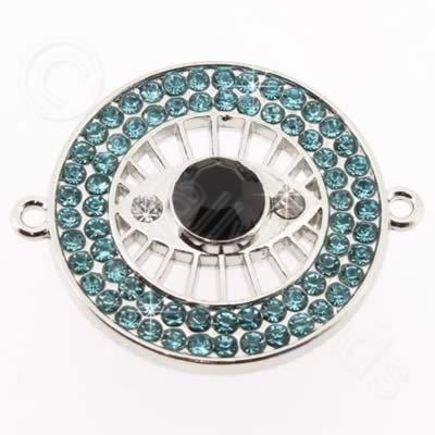 Metal Eye Connector 30mm - Aqua Rhinestone