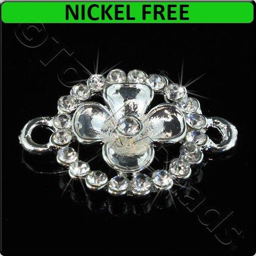 Silver Metal Connector Flower with Crystal 19x26mm 3pcs