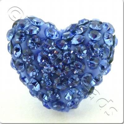Shamballa Heart Bead - 20mm - Blue