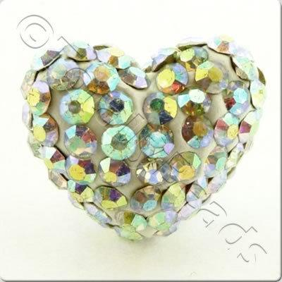 Shamballa Heart Bead - 20mm - Crystal AB