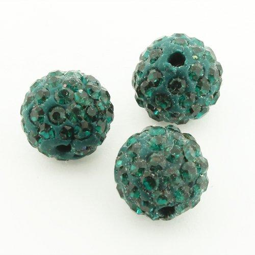 Shamballa Bead 10mm Round - Emerald