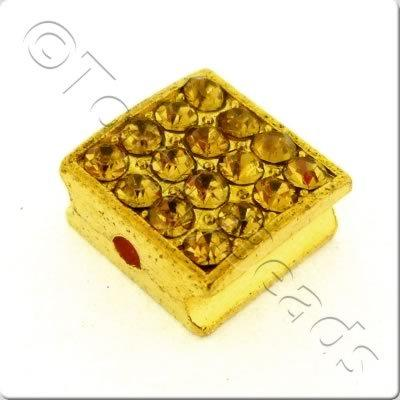 Shamballa Flat Square Bead - 10mm - Gold