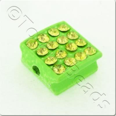 Shamballa Flat Square Bead - 10mm - Green