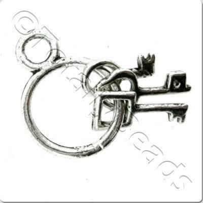 Tibetan Silver Charm - Keys on Ring