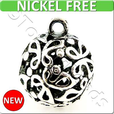Antique Silver Metal Pendant - Hollow Butterfly Ball 25mm - 188X