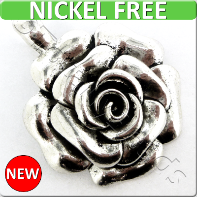 Antique Silver Metal Pendant - Rose 47mm - A11899