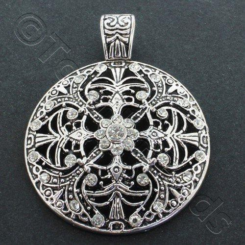Antique Silver Filigree Crystal Disc 46mm