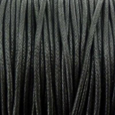Wax Cotton Cord 2mm - Black - 10 Metres