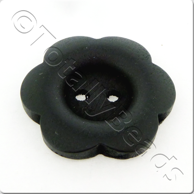 Wooden Flower Button 27mm - Black
