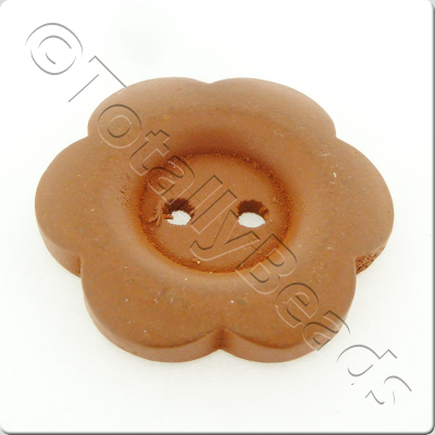 Wooden Flower Button 27mm - Coffee