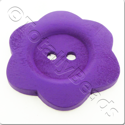 Wooden Flower Button 50mm - Purple