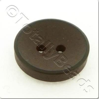 Concave Wooded Button 15mm - Dark Brown