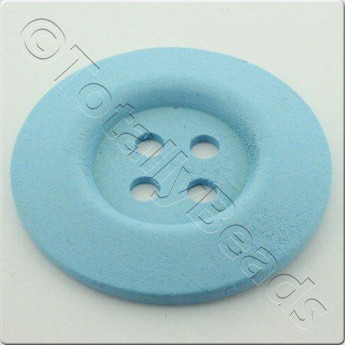 Wooden Button 50mm - Baby Blue