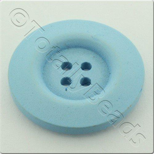 Wooden Button 30mm - Baby Blue