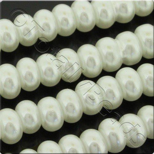 Glass Pearl Rondelle 7x10mm - White