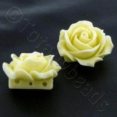 Acrylic Rose 35mm 3 Rows - Cream