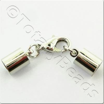 Kumihimo 6mm Barrel Lobster Clasp Rhodiumn - 2 sets