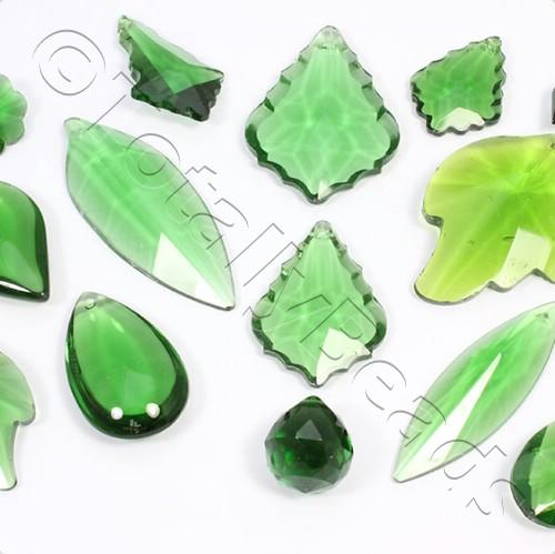 Glass Pendant Pack - Mix of 12 Pendants - Green