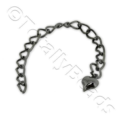 Extension Chain - Heart 80mm - Black