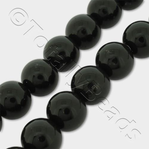 "Synthetic Onyx Round Beads 10mm 16"" String"