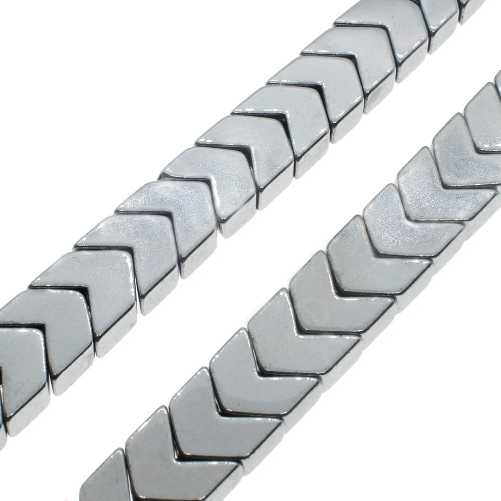Hematite Chevron 4mm - Silver Plated