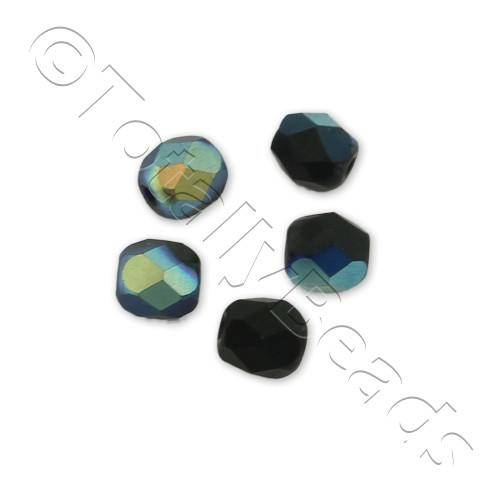 Czech Fire Polished 4mm Faceted - Matte Jet Black AB - 100pcs
