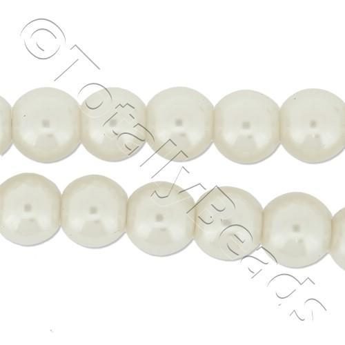 Glass Pearl Round Beads 7mm - White