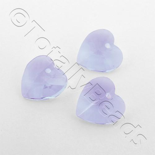 Crystal Charm Heart 10mm - Lilac 10pcs