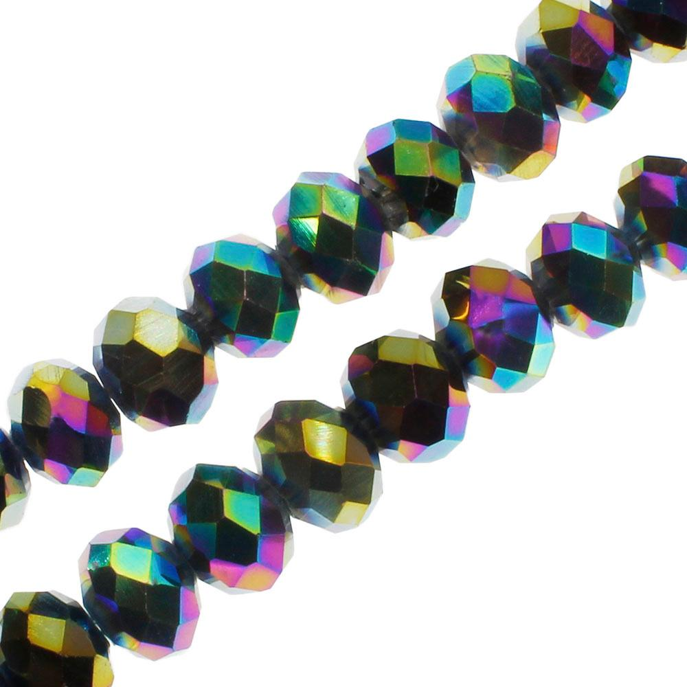 "Crystal Rondelle 6x8mm - Rainbow Plate 16"" String"