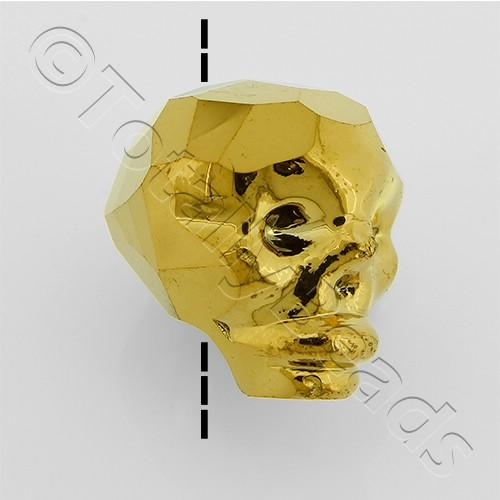 Crystal Skull Bead 13mm 1 Piece - Gold