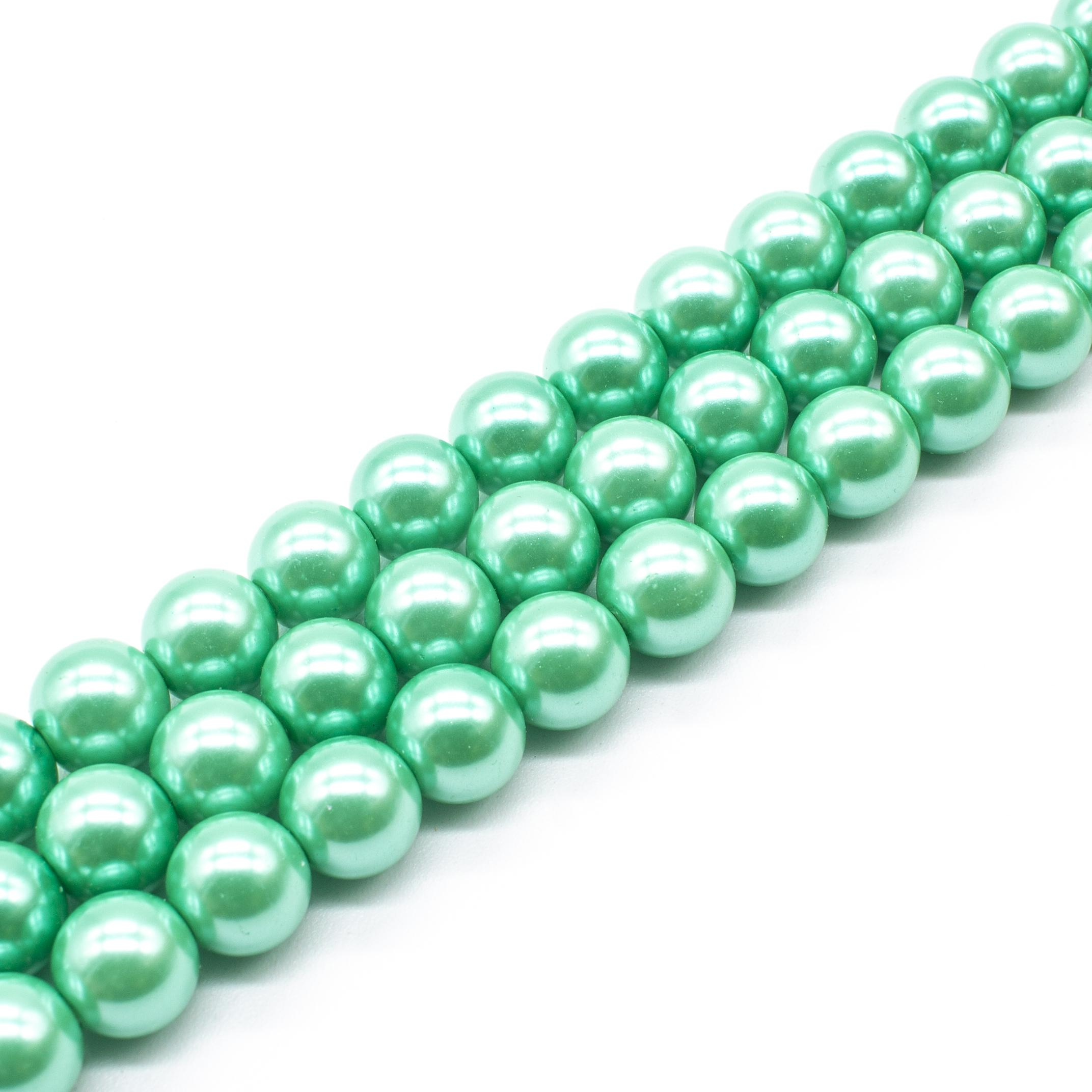 Glass Pearl Round Beads 10mm - Sea Foam Green