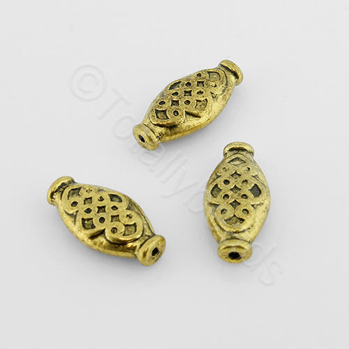 Tibetan Gold Bead - Oval 14mm