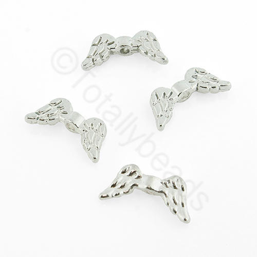 Silver Metal Bead - Angel Wing 14mm 25pcs - A1741S