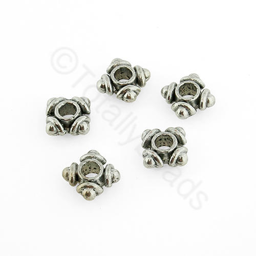 Antique Silver Metal Bead - Square 6mm 30pcs - H1312