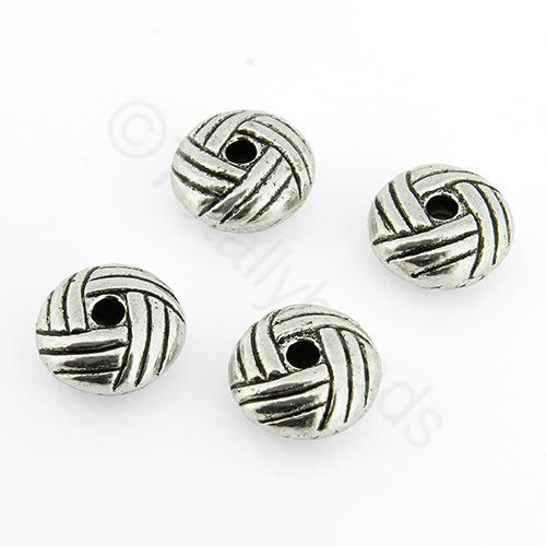 Tibetan Silver Bead - Hatched Rondelle 10mm