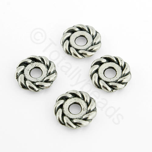 Tibetan Silver Bead - Roped Bead 10mm