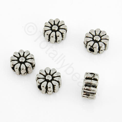 Tibetan Silver Bead - Flower 6mm