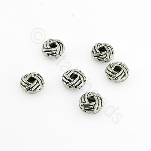 Tibetan Silver Bead - Hatched Rondelle 6mm