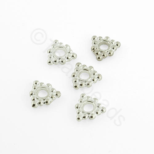 Silver Plated Bead - Triangle Disc 7mm
