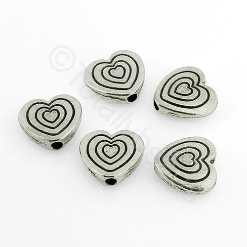 Antique Silver Bead - 9mm - Heart