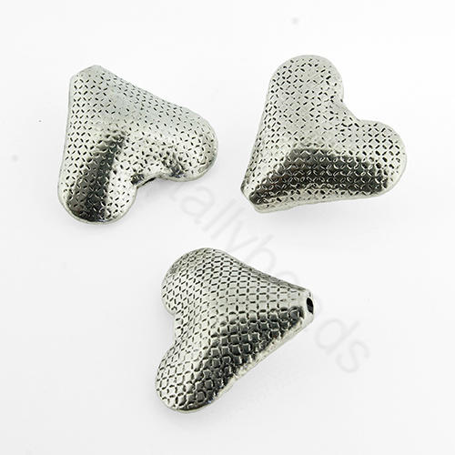 Tibetan Silver Bead - Heart 19x22mm