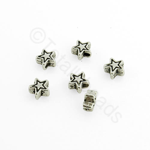 Antique Silver Metal Bead - Star 5mm 50pcs - A0218