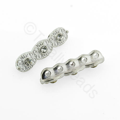 Silver Metal Connector - Crystal Bar 25mm - A11799